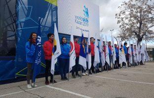 Alumnos del IES Virgen de la Paloma, en la ceremonia de recepción de la bandera de las World Skills, que se celebrará en Kazán (Rusia), en 2019