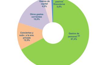 Distribución del gasto público en Educación en el año 2016, según el Informe Datos y Cifras del Ministerio de Educación de 2018. La concertada, que escolariza al 26% del alumnado no universitario, se lleva el 12,3% del total del gasto total en educación y el 18% del gasto en enseñanzas no universitarias.