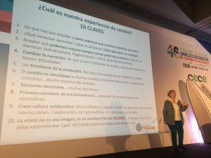 """Carmen Pellicer, directora de la Fundación Trilema, """"presenta 10 claves para el cambio"""" durante su conferencia en el 46º Congreso de CECE."""