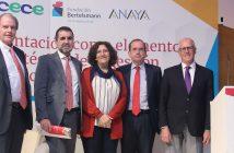 Francisco Belil (Fundación Bertelsmann), Carlos Marchena (Anaya), Pilar Bordonaba (Ministerio de Educación), Alfonso Aguiló (CECE) y sir John Holman (Gatsby Foundation), en la presentación del acto sobre Orientación Profesional en Educación celebrado en Madrid el 14 de marzo.