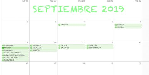 Calendarios escolares. ¿Qué día empezamos?