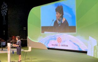 La ministra de Educación y FP en funciones, Isabel Celaá, en la inauguración del XV Congreso de Escuelas Católicas.