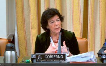 La ministra de Educación y Formación Profesional, Isabel Celaá, durante su primera comparecencia de la legislatura en la Comisión de Educación y FP del Congreso de los Diputados.