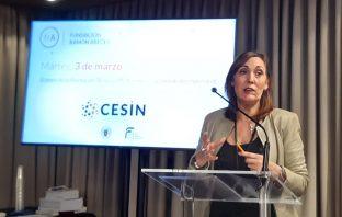 La secretaria general de FP, Clara Sanz, durante la clausura de la mesa redonda sobre El Papel de la FP en la Empresa Innovadora, en la Fundación Ramón Areces.