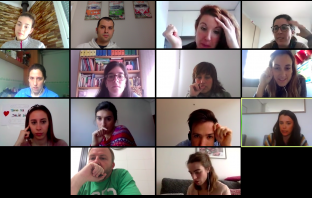 Reunión de un claustro docente durante el confinamiento por la epidemia de coronavirus.