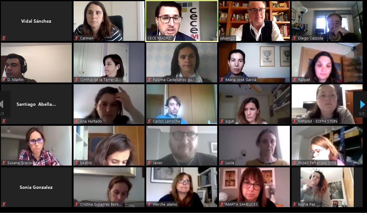 Algunos de los orientadores, psicólogos y directores de colegios de CECE-Madrid que se reunieron online el pasado 29 de abril con José Antonio Luengo.