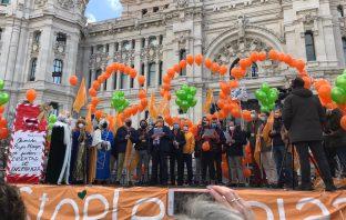 Lectura del manifiesto por las libertades y la pluralidad en educación, al término de la manifestación contra la LOMLOE de este 20 diciembre en Madrid.