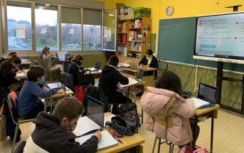 Un aula del Colegio Montesol, de Vigo, a principios de febrero.