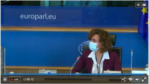 La presidenta de la Comisión de Peticiones de la Eurocámara, Dolors Montserrat, durante la sesión del 23 de marzo.