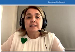 La portavoz de la plataforma Inclusiva sí, Especial también, Carolina Fernández, durante su intervención en la Comisión de Peticiones.