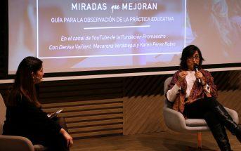 Presentación del estudio 'Miradas que Mejoran', de la Fundación Promaestro. En la imagen, una de sus autoras, Karen Pérez Rubio, junto a la profesora Lucía Sierra.