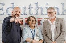 Ana Pérez Saitua, junto a Richard Gerver y Graham Powell, en el congreso EduThink, organizado por el Grupo Educativo COAS.